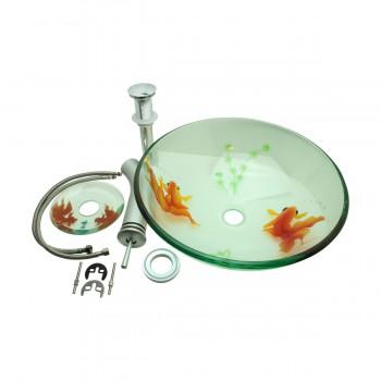 <PRE>Bathroom Glass Vessel Sink Koi Fish Waterfall Faucet Combo </PRE>zoom5