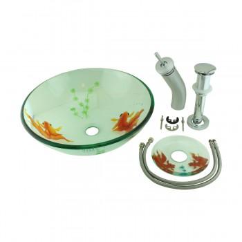 <PRE>Bathroom Glass Vessel Sink Koi Fish Waterfall Faucet Combo </PRE>zoom7
