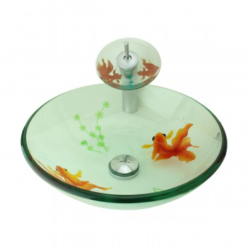 Glass Vessel Sink Painted Koi Fish Tall Satin Nickel Faucet