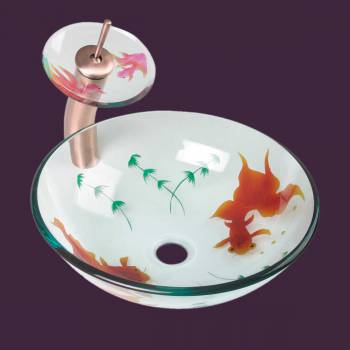 Glass Vessel Sink Painted Koi Fish Tall Antique Copper Faucet - Vessel Sinks by Renovator's Supply.