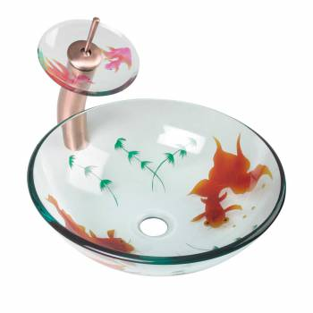 Glass Vessel Sink Koi Fish Waterfall Faucet Combo Package 12995grid