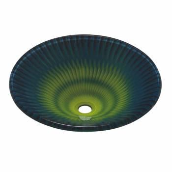 Tempered Glass Vessel Sink with Drain, Blue-Green Fan-Shape Bowl Sink 12996grid