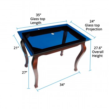 spec-<PRE>Provincial Leg Glass Console Table Bathroom Vanity Wall Mount</PRE>