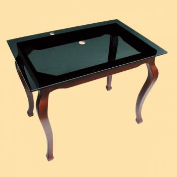 <PRE>Provincial Legs Glass Console Table Bathroom Vanity Sink </PRE>