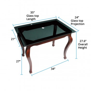 spec-<PRE>Provincial Legs Glass Console Table Bathroom Vanity Sink </PRE>