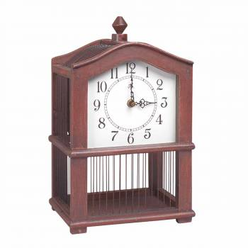 Victorian Birdhouse Clock Wood & Wire Antique Finish