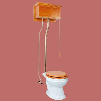 <PRE>Light Oak High Tank Pull Chain Toilet with White Round Bowl and Brass Rear Entry</PRE>zoom2
