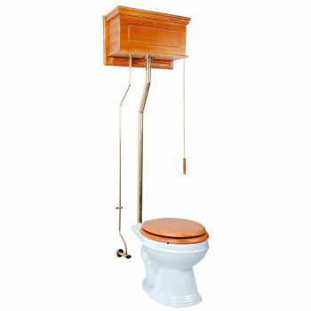 Light Oak High Tank Pull Chain Toilet with White Round Bowl and Brass Rear Entry High Tank Pull Chain Toilets High Tank Toilet with Round Bowl Pull Chain Toilets