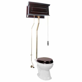 <PRE>High Tank Pull Chain Toilet Dark Oak Raised Round Bowl White China Brass LPipe</PRE>zoom1