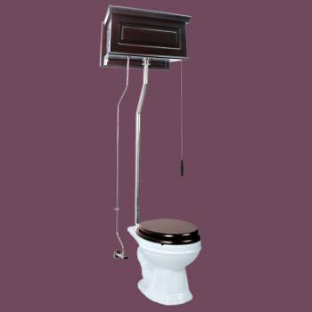 <PRE>Renovator's Supply Dark Oak High Tank Pull Chain Toilet with White Round Bowl</PRE>zoom2