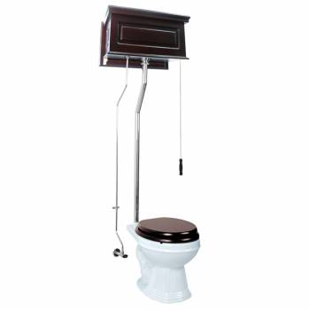 Renovators Supply Dark Oak High Tank Pull Chain Toilet with White Round Bowl Round Bowl High Tank Toilet High Tank Pull Chain Toilets Overhead Water Tank Closets