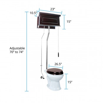 spec-<PRE>Renovator's Supply Dark Oak High Tank Pull Chain Toilet with White Round Bowl</PRE>