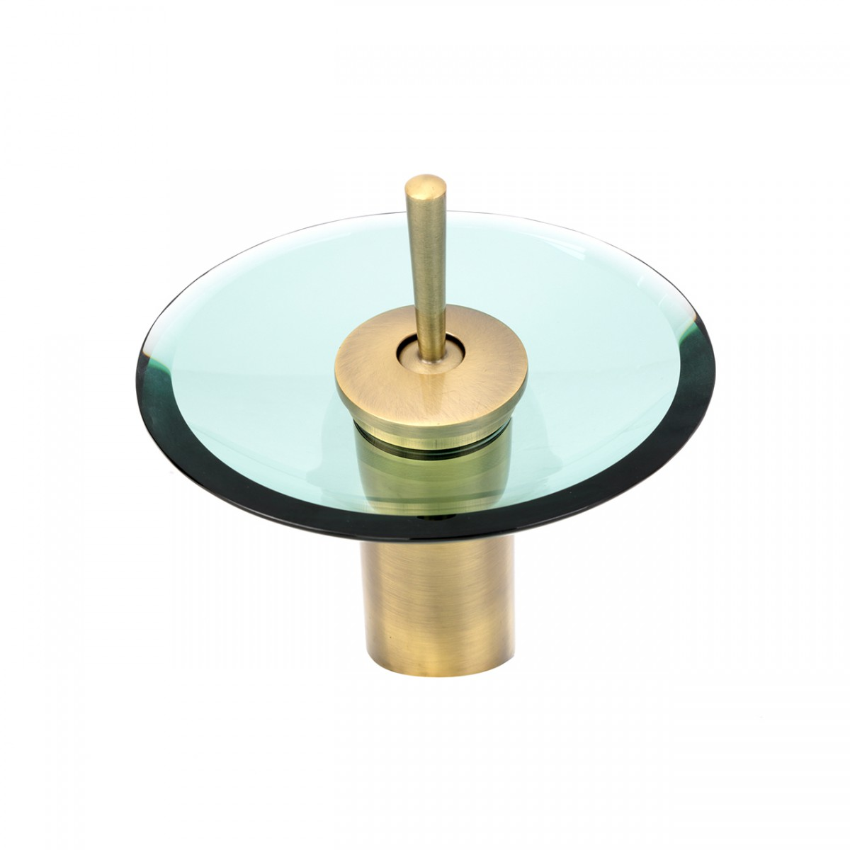 Waterfall Faucet Heavy Antique Brass 7H Clear Glass Disk Glass plate Waterfall Sink Faucet Waterfall Bathroom Faucets Glass Disk Faucet
