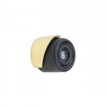 Black Door Stopper Brass Housing Floor/Wall Mount Rubber 13099grid