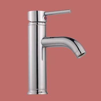 Single Lever Faucet  6 3/4 in. H Round - Glass sinks, Glass sink info & unique Glass accessories, quantity discounts on Glass sinks, Glass pedestal sinks, Glass wall mount sinks, Glass console sinks, counter top Glass sinks, Glass counter top sinks, Glass pedestal sinks, bathroom fixtures, Glass bathroom sinks, sink faucets & free shipping by Renovator's Supply.
