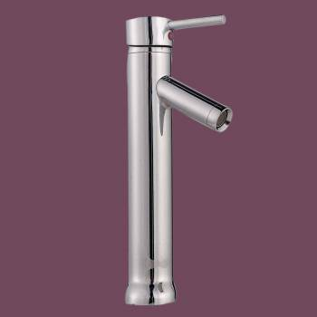 Single Lever Faucet 12 in. H Round - Glass sinks, Glass sink info & unique Glass accessories, quantity discounts on Glass sinks, Glass pedestal sinks, Glass wall mount sinks, Glass console sinks, counter top Glass sinks, Glass counter top sinks, Glass pedestal sinks, bathroom fixtures, Glass bathroom sinks, sink faucets & free shipping by Renovator's Supply.