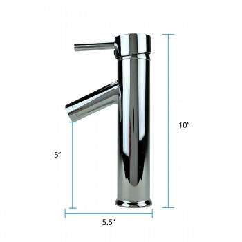 spec-<PRE>Bathroom Faucet Single Hole Handle Chrome Solid Brass 10&quot; H </PRE>