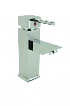 Bathroom Faucet Chrome Plated Square Single Hole 1 Handle 13115grid