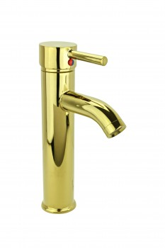 Bathroom Faucet Gold PVD Brass Round Single Hole 1 Handle
