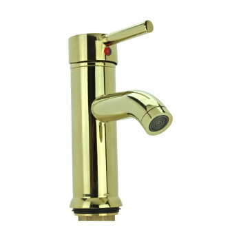 Gold PVD Brass Single Hole 1 Handle Round Bathroom Faucet Faucets Bathroom Faucets Bathroom Sink Faucet