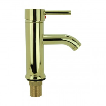 Bathroom Faucet Gold PVD Brass Round Single Hole 1 Handle 13122grid