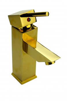 Bathroom Faucet Gold PVD Brass Square Single Hole 1 Handle