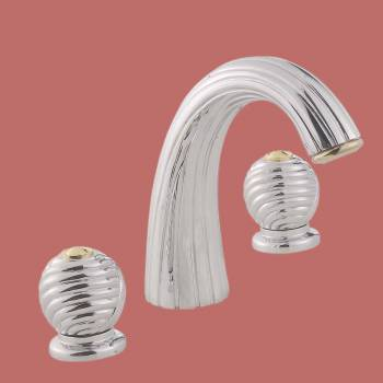 Decorative Chrome Widespread Faucet - Corner sinks, corner sink info & unique corner accessories, quantity discounts on corner toilets, corner pedestal sinks, corner wall mount sinks, corner console sinks, counter top corner sinks, corner counter top sinks, glass corner pedestal sinks, corner cabinets, corner bathroom fixtures, corner bathroom sinks, corner sink faucets & free shipping by Renovator's Supply.