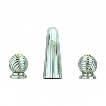 <PRE>Bathroom Faucet Chrome Swirl Widespread Ball 2 Handles </PRE>zoom5