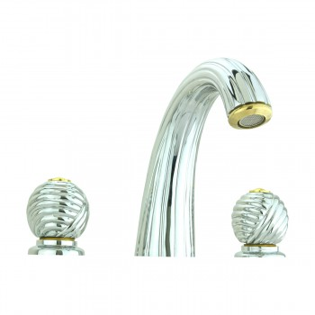 <PRE>Bathroom Faucet Chrome Swirl Widespread Ball 2 Handles </PRE>zoom10