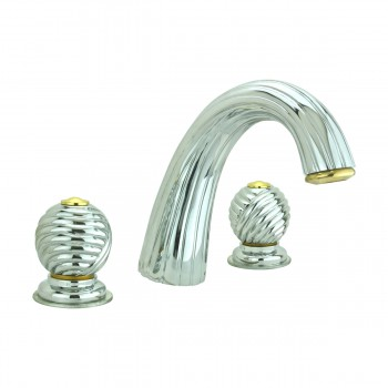 <PRE>Bathroom Faucet Chrome Swirl Widespread Ball 2 Handles </PRE>zoom1