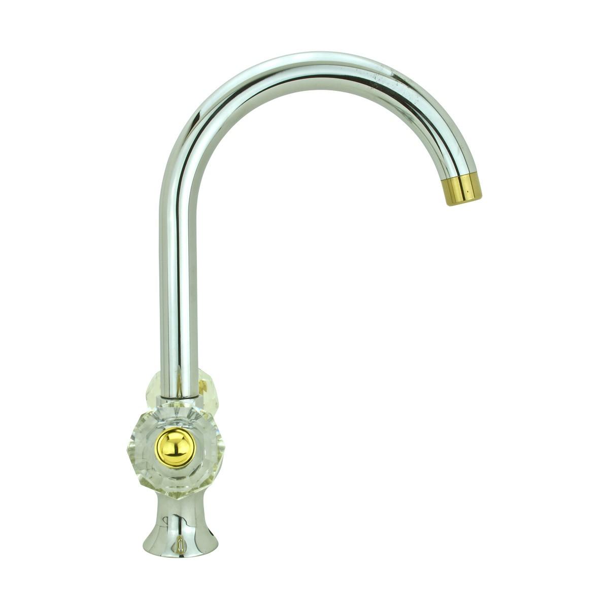 Bathroom Faucet Chrome Cane Neck 2 Glass Handles SIngle Hole Chrome Bathroom Faucet Brass Bathroom Faucets Glass Handle Bathroom Faucet