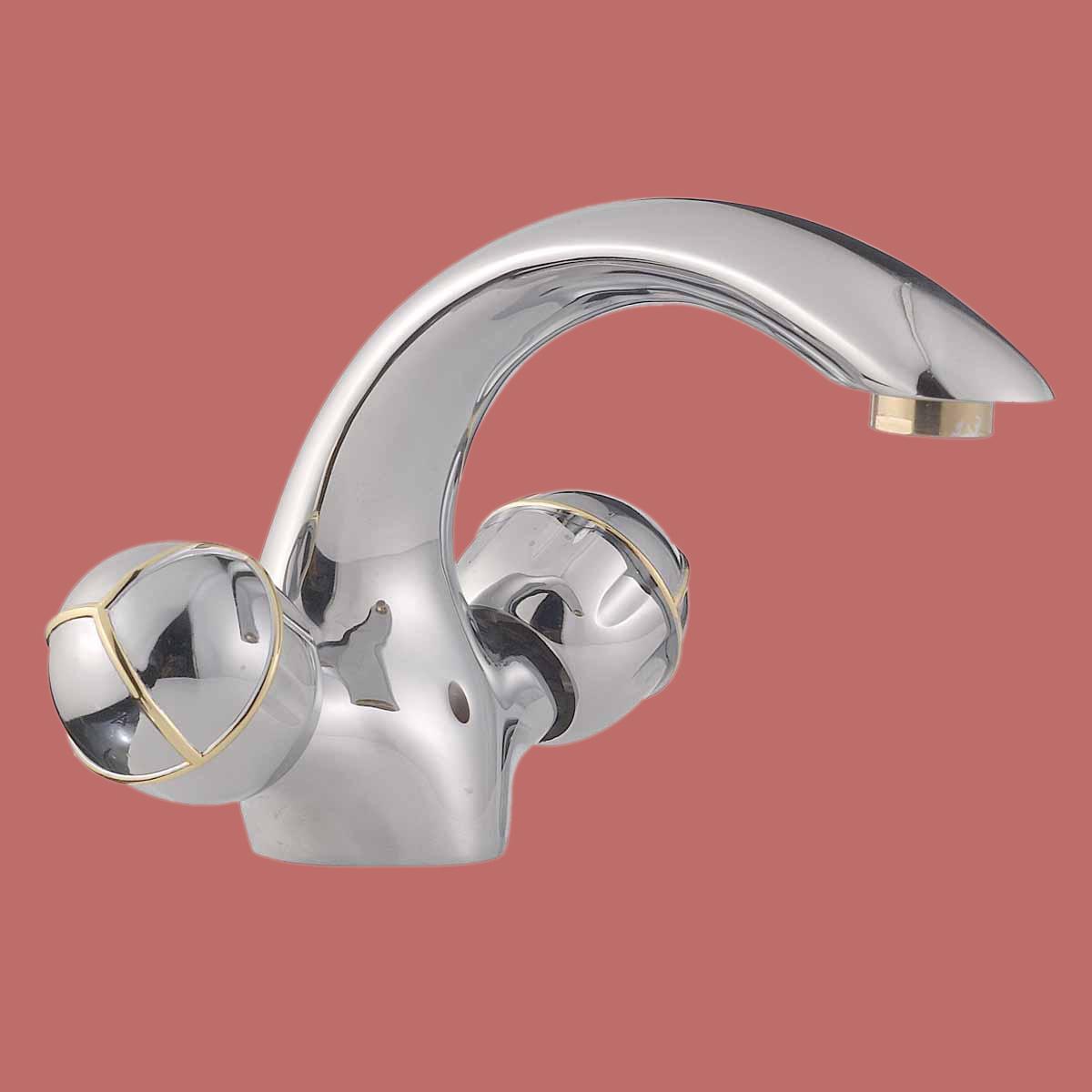 Bathroom Faucet Swan Spout Chrome Single Hole 2 Handles