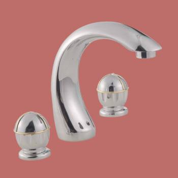 Decorative Chrome Widespread Faucet - Glass sinks, Glass sink info & unique Glass accessories, quantity discounts on Glass sinks, Glass pedestal sinks, Glass wall mount sinks, Glass console sinks, counter top Glass sinks, Glass counter top sinks, Glass pedestal sinks, bathroom fixtures, Glass bathroom sinks, sink faucets & free shipping by Renovator's Supply.