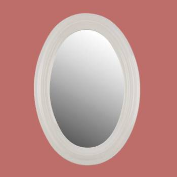 Bathroom Mirror White Porcelain Frame Oval