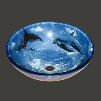 Glass Sinks - Dolphins Glass Vessel Sink - Round by the Renovator's Supply