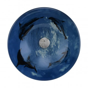 <PRE>Tempered Glass Vessel Sink with Drain, Dolphin Design Blue Bowl Sink</PRE>zoom3