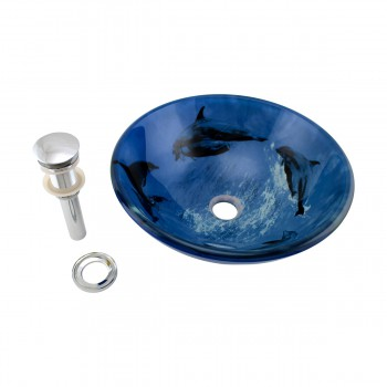 <PRE>Tempered Glass Vessel Sink with Drain, Dolphin Design Blue Bowl Sink</PRE>zoom6