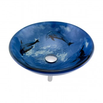 Tempered Glass Vessel Sink with Drain, Dolphin Design Blue Bowl Sink13192grid