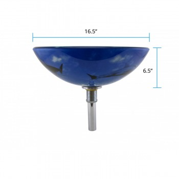 spec-<PRE>Tempered Glass Vessel Sink with Drain, Dolphin Design Blue Bowl Sink</PRE>