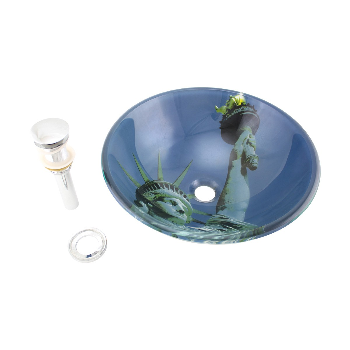 Liberty Tempered Glass Vessel Sink with Drain, Blue DoubleLayer Round Bowl Sink bathroom vessel sinks Countertop vessel sink Vintage Glass Vessel Sink