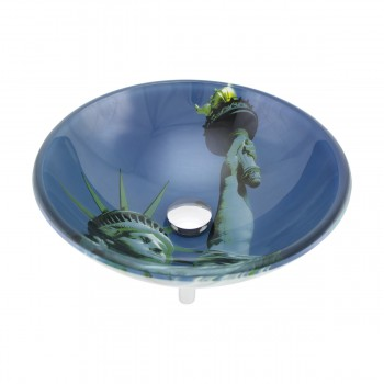 <PRE>Liberty Tempered Glass Vessel Sink with Drain, Blue Double-Layer Round Bowl Sink</PRE>zoom3