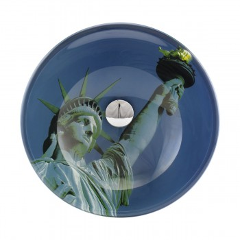 Liberty Tempered Glass Vessel Sink with Drain, Blue Double-Layer Round Bowl Sink13193grid