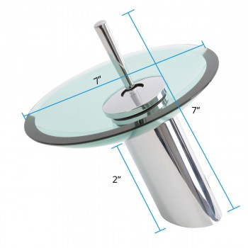 "spec-<PRE>Brass Waterfall Faucet Chrome Plated 7"" Green Glass Plate </PRE>"