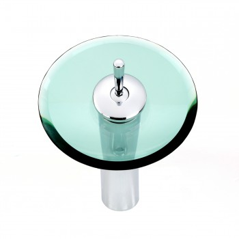 Waterfall Faucet Heavy Cast Chrome Brass 12 Green Glass Glass plate Waterfall Sink Faucet Waterfall Bathroom Faucets Glass Disk Faucet