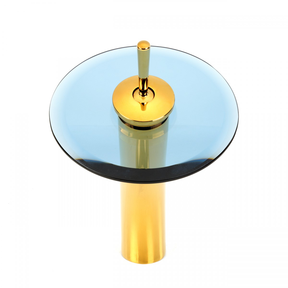 Waterfall Faucet Heavy Cast PVD Brass 12 Blue Glass Glass plate Waterfall Sink Faucet Waterfall Bathroom Faucets Glass Disk Faucet