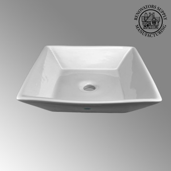 <PRE>Bathroom Vessel Sink Above Counter White Porcelain Square Gloss Finish Art Basin</PRE>zoom2