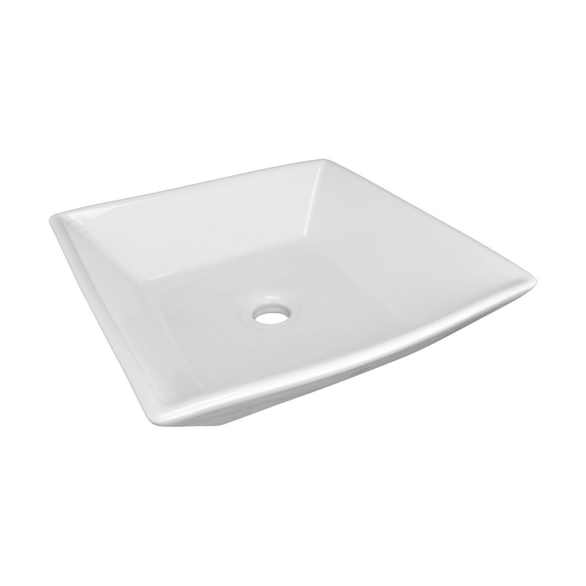 Bathroom Vessel Sink Above Counter White Porcelain Square Gloss Finish Art  Basin