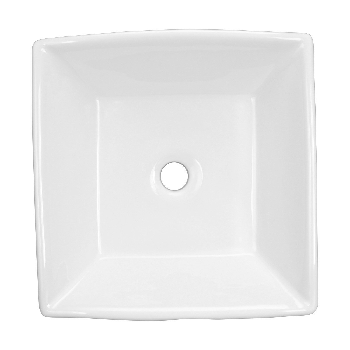Bathroom Vessel Sink Above Counter White Porcelain Square Gloss Finish Art Basin bathroom vessel sinks Countertop vessel sink Bathroom Modern Vanity Sink Top