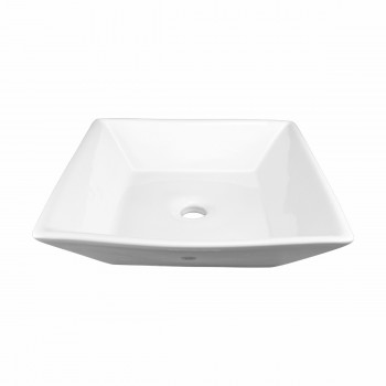 <PRE>Bathroom Vessel Sink Above Counter White Porcelain Square Gloss Finish Art Basin</PRE>zoom3