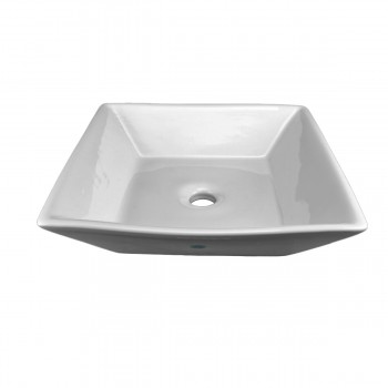 Bathroom Vessel Sink Above Counter White Porcelain Square Gloss Finish Art Basin